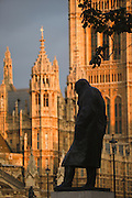 Statue of Winston Churchill, Westminster Houses of Parliamment, London, UK