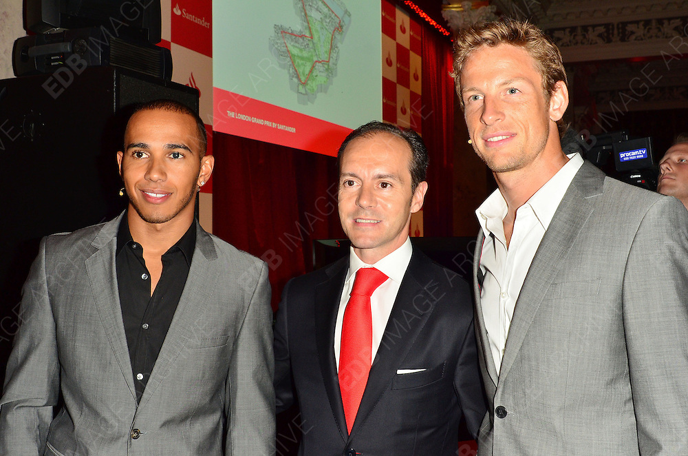 28.JUNE.2012 LONDON<br /> <br /> JENSEN BUTTON AND LEWIS HAMILTON AT THE LONDON GRAND PRIX VIP EVENT AT THE ROYAL AUTOMOBILE CLUB IN MYFAIR.<br /> <br /> BYLINE: EDBIMAGEARCHIVE.COM<br /> <br /> *THIS IMAGE IS STRICTLY FOR UK NEWSPAPERS AND MAGAZINES ONLY*<br /> *FOR WORLD WIDE SALES AND WEB USE PLEASE CONTACT EDBIMAGEARCHIVE - 0208 954 5968*