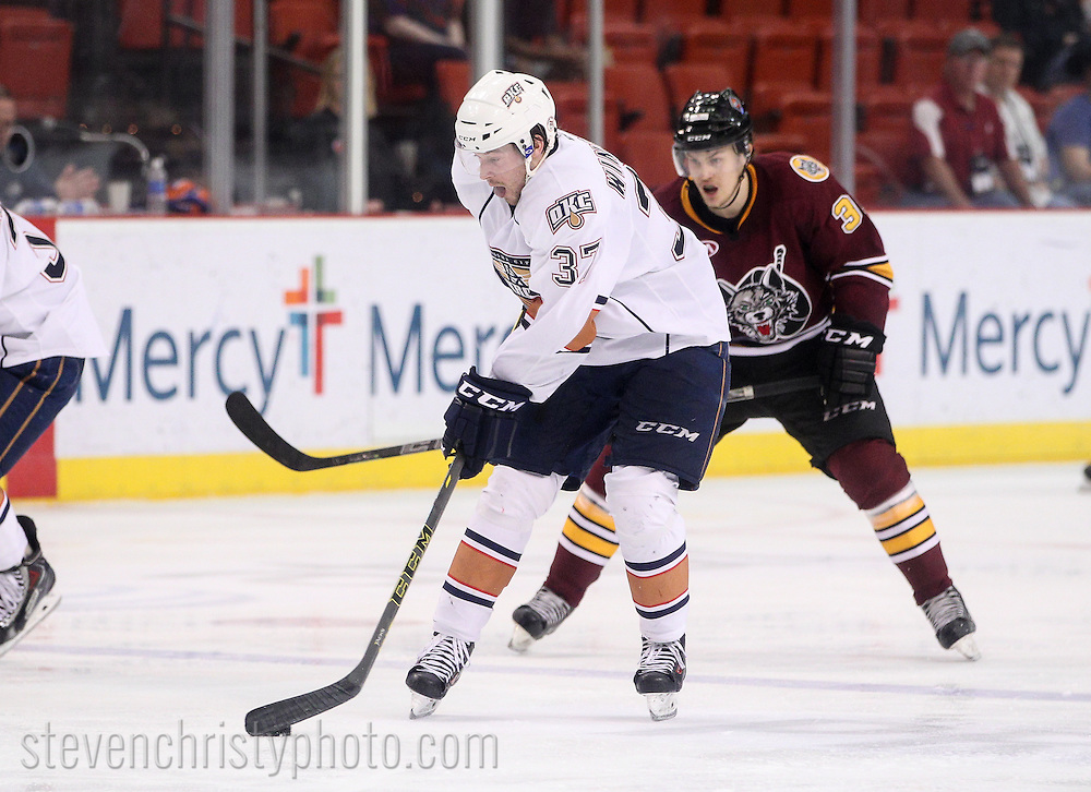 March 22, 2015: The Oklahoma City Barons play the Chicago Wolves in an American Hockey League game at the Cox Convention Center in Oklahoma City.