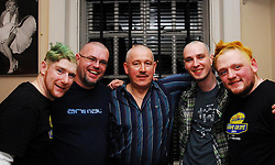 Head together for a good cause........Employees from Allergan taking part in the Shave or Dye  Today FM campaign..Hugh O'Malley, Paul Murray, Seamus Moran, Daragh McNamara and  Peter Connelly...Pic Conor McKeown