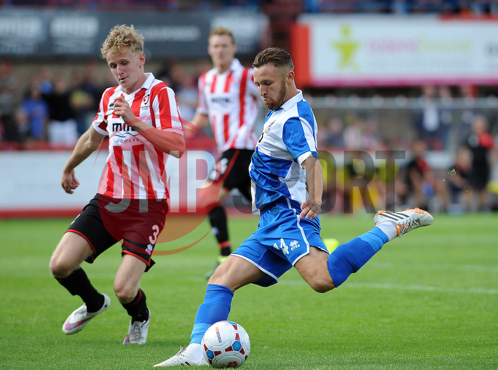 Matty Taylor of Bristol Rovers gets a shot away - Mandatory by-line: Neil Brookman/JMP - 25/07/2015 - SPORT - FOOTBALL - Cheltenham Town,England - Whaddon Road - Cheltenham Town v Bristol Rovers - Pre-Season Friendly