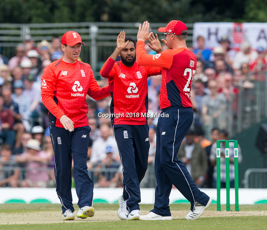 EDINBURGH, SCOTLAND - JUNE 10:Adil Rashid celebrates the wicket of Scotland opener, Matthew Cross, in the first innings of the one-off ODI at the Grange Cricket Club on June 10, 2018 in Edinburgh, Scotland. (Photo by MB Media/Getty Images)