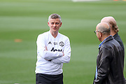 Manchester United Manager Ole Gunnar Solskjaer in discussion with Avram Glazer and Joel Glazer during the Manchester United FC training session ahead of the Champions League quarter-final 2nd leg match at Camp Nou, Barcelona, Spain on 15 April 2019.