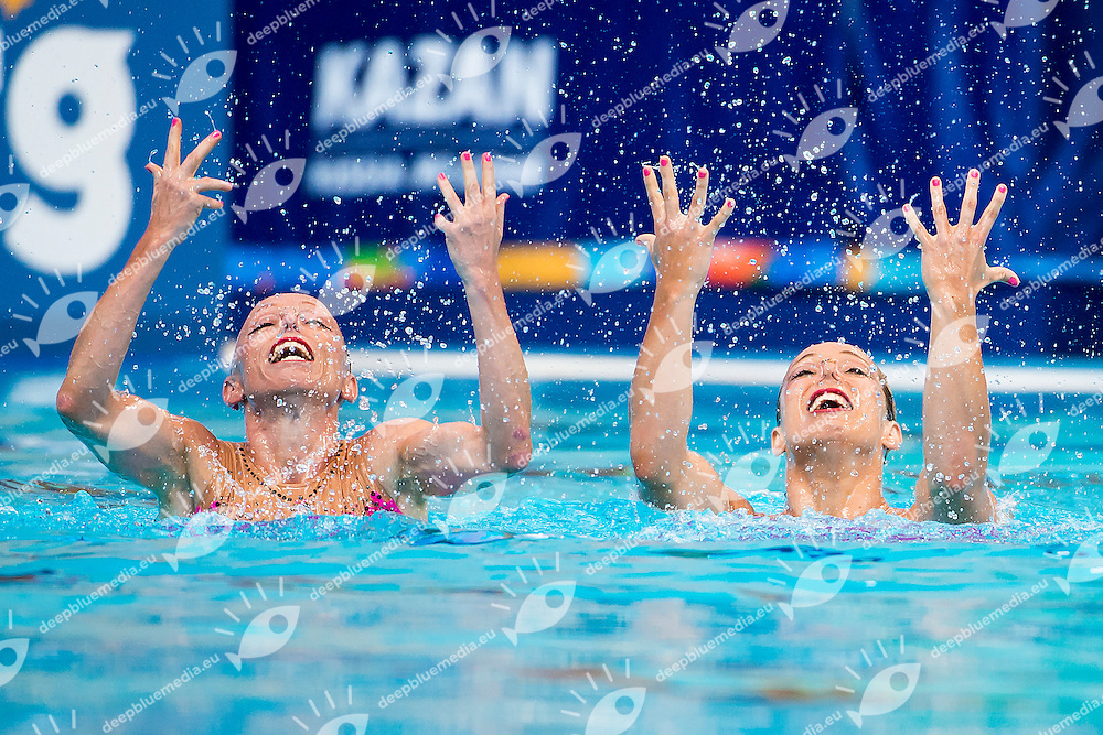 BERNARDOVA Sona DUFKOVA Alzbeta CZE<br /> Women's Duet Technical Preliminary Technical Routine - Kazan Arena<br /> Day03 25/07/2015<br /> XVI FINA World Championships Aquatics Swimming<br /> Kazan Tatarstan RUS July 24 - Aug. 9 2015 <br /> Photo A.Masini/Deepbluemedia/Insidefoto
