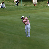 Esteban Toledo hitting his second shot on the 18th fairway at the 2016 American Family Championship held at University Ridge Golf Course, Madison,  WI. on June 24, 2016.<br /> <br /> <br /> <br /> <br /> <br />  2016 American Family Championship held at University Ridge Golf Course, Madison,  WI. on June 23, 2016.