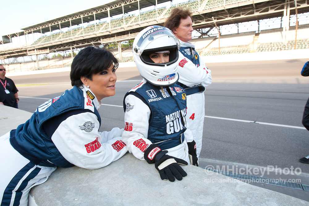 Kris Jenner, Kim Kardashian and Bruce Jenner seen at the Indianapolis Motor Speedway during Indy 500 weekend.<br /> Photo by Michael Hickey
