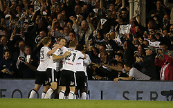 Denis Odoi of Fulham celebrates with team mates and fans after scoring to make it 2-0 - Mandatory by-line: Paul Terry/JMP - 14/05/2018 - FOOTBALL - Craven Cottage - Fulham, England - Fulham v Derby County - Sky Bet Championship Play-off Semi-Final