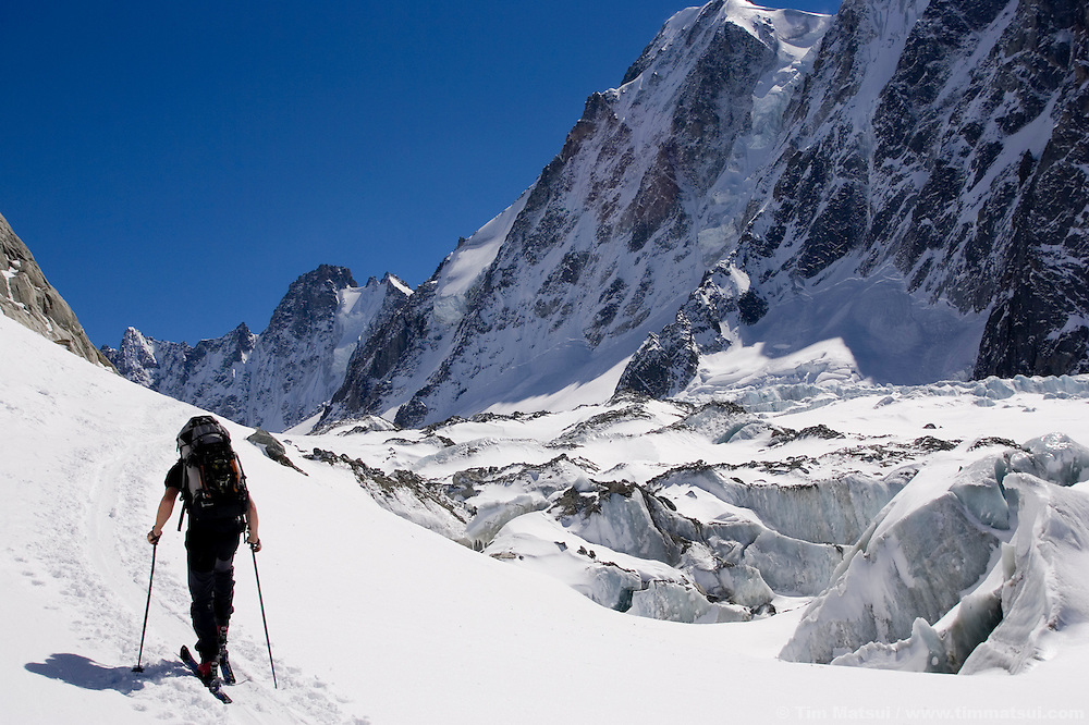 Skiing up the Argentiere Glacier, Chamonix, France.