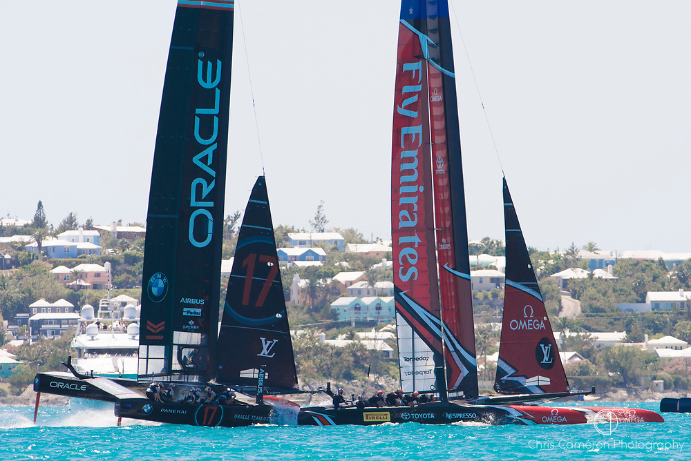 The Great Sound, Bermuda, 18th June. Emirates Team New Zealand and Oracle Team USA in pre race for race four on day two of the America's Cup.