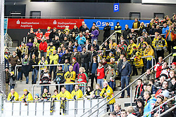 04.01.2015, Curt Frenzel Stadion, Augsburg, GER, DEL, Augsburger Panther vs Krefeld Pinguine, 35. Runde, im Bild Fanblock Krefeld Pinguine // during Germans DEL Icehockey League 35th round match between Augsburger Panther and Krefeld Pinguine at the Curt Frenzel Stadion in Augsburg, Germany on 2015/01/04. EXPA Pictures © 2015, PhotoCredit: EXPA/ Eibner-Pressefoto/ Kolbert<br /> <br /> *****ATTENTION - OUT of GER*****