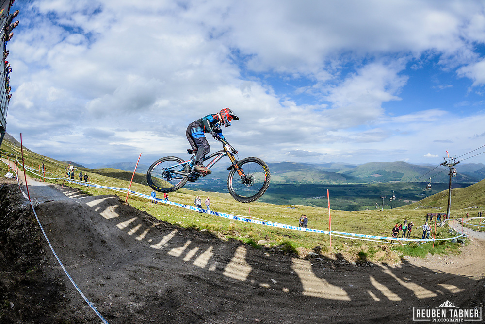 Laurie Greenland grabs some air at the top of the Fort WIlliam downhill track during Saturday practise at the UCI Mountain Bike World Cup.