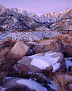 Winter, Snow, Sunrise, Sunset, Mt. Whitney, Mount Whitney, Inyo National Forest, California