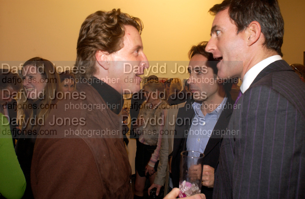 Tim Attias, Bobby Hashemi and Tim Jefferies, Matthew Mellon celebrates Famous Feet, Hamiltons Gallery. 22 November 2004. SUPPLIED FOR ONE-TIME USE ONLY> DO NOT ARCHIVE. © Copyright Photograph by Dafydd Jones 66 Stockwell Park Rd. London SW9 0DA Tel 020 7733 0108 www.dafjones.com