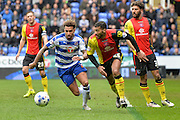 Reading FC midfielder (23) Danny Williams and Birmingham City midfielder (26) David Davis during the Sky Bet Championship match between Reading and Birmingham City at the Madejski Stadium, Reading, England on 9 April 2016. Photo by Mark Davies.