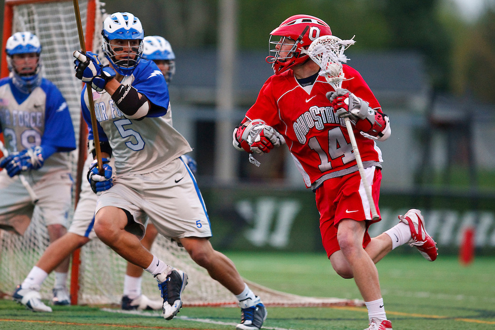 May 1, 2009:   #14 Jeff Ryan of Ohio State and #5 Bryan Gilbreath of Air Force  in action during the NCAA Lacrosse game between Air Force and Ohio State at GWLL Tournament in Birmingham, Michigan. Ohio State defeated Air Force 10-5.  (Credit Image: Rick Osentoski/Cal Sport Media)