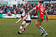 Bradford Bulls stand off Joe Keyes (6) passes the ball out  during the Betfred League 1 match between Keighley Cougars and Bradford Bulls at Cougar Park, Keighley, United Kingdom on 11 March 2018. Picture by Simon Davies.