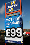 Kwik-Fit MOT and Servicing sign