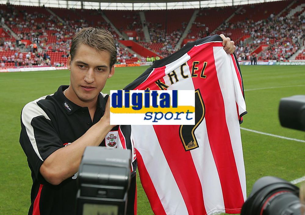 Photo: Lee Earle.<br /> Southampton v Panathinaikos. Pre Season Friendly. 29/07/2006. Southampton's latest signing Rudi Skacel poses for pictures.