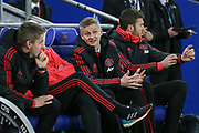 Manchester United interim Manager Ole Gunnar Solskjaer gestures on the bench before the Premier League match between Cardiff City and Manchester United at the Cardiff City Stadium, Cardiff, Wales on 22 December 2018.