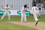Muhammad Abbas bowling to Tom Lace during the Specsavers County Champ Div 2 match between Leicestershire County Cricket Club and Derbyshire County Cricket Club at the Fischer County Ground, Grace Road, Leicester, United Kingdom on 28 May 2019.
