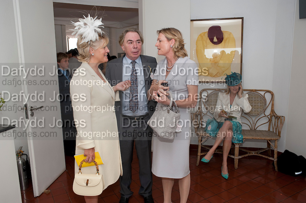 COUNTESS OF MARCH; LORD ANDREW LLOYD WEBBER; LADY LOYD WEBBER, Glorious Goodwood. Ladies Day. 28 July 2011. <br /> <br />  , -DO NOT ARCHIVE-© Copyright Photograph by Dafydd Jones. 248 Clapham Rd. London SW9 0PZ. Tel 0207 820 0771. www.dafjones.com.
