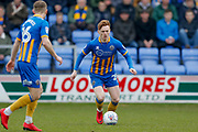 Shrewsbury Town midfielder Jon Nolan (20) in action  during the EFL Sky Bet League 1 match between Shrewsbury Town and AFC Wimbledon at Greenhous Meadow, Shrewsbury, England on 24 March 2018. Picture by Simon Davies.