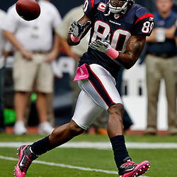 October 10, 2010; Houston, TX USA; Houston Texans wide receiver Andre Johnson (80) catches a pass during warms ups prior to kickoff of a game against the New York Giants at Reliant Stadium. Mandatory Credit: Derick E. Hingle