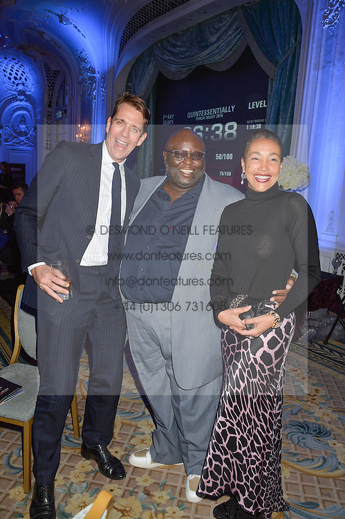 Left to right, BEN ELLIOT, ADE and JACI REID at the Quintessentially Foundation's Poker Night held at The Savoy, London on 13th October 2016.