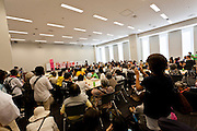 Women protesters meet with female lawmakers and speak in the  Member's Office Building of the House of Councillors in Tokyo, Japan. Friday June 29th 2012.  400 protesters campaigned the restarting of the Oi nuclear power-station and the policy of Prime-Minister Noda to restart Japan's nuclear power generation programme which has been stalled since the earthquake and tsunami of March 11th 2011 caused meltdown and radiation leaks at the Fukushima Daichi Nuclear power-plant.