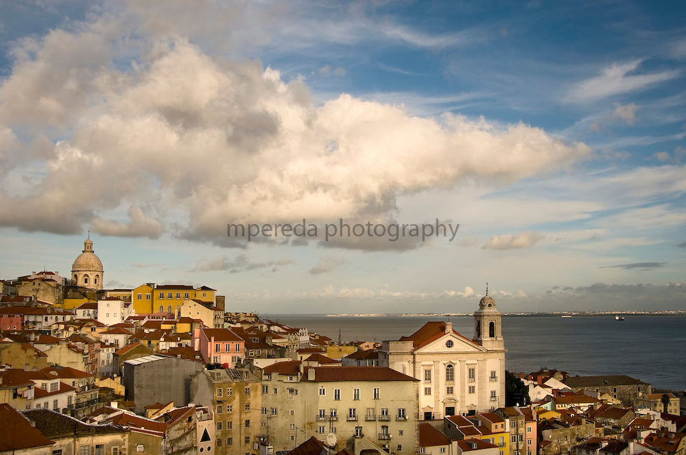 Lisbon and the Church of San Miguel from the viewpoint of St. Lucia in the Alfama