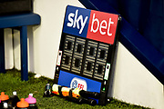 The Skybet EFL substitution board and spare flags during the EFL Sky Bet Championship match between West Bromwich Albion and Norwich City at The Hawthorns, West Bromwich, England on 12 January 2019.