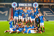 The Rangers team celebrate after winning the Scottish FA Youth Cup Final match between Celtic and Rangers at Hampden Park, Glasgow, United Kingdom on 25 April 2019.