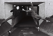 Teenagers jumping, Greenford, London, UK, 1981