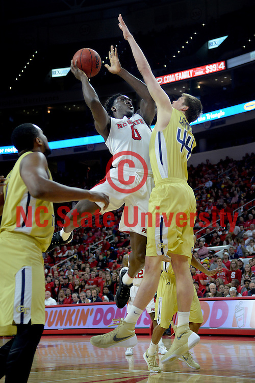 Wolfpack center Malik Abu puts up two points in ACC action in PNC Arena.