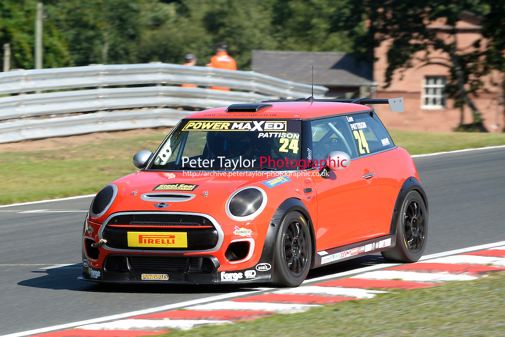 #24 Lee Pattison Mini F56 during Power Maxed Mini Challenge - F56/JCW - Qualifying  as part of the Mini Festival  at Oulton Park, Little Budworth, Cheshire, United Kingdom. August 08 2015. World Copyright Peter Taylor. Copy of publication required for printed pictures.  Every used picture is fee-liable. http://archive.petertaylor-photographic.co.uk
