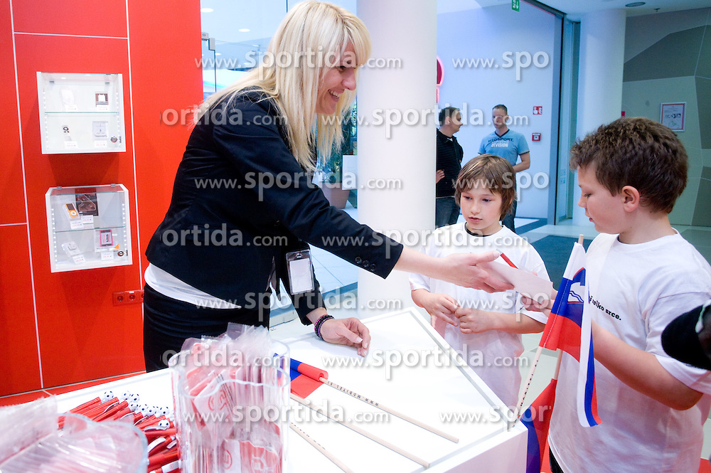 Young fans at visit  of Slovenian National Football team in Mobitel center, on May 19, 2010 in Ciytpark, BTC, Ljubljana, Slovenia. (Photo by Vid Ponikvar / Sportida)