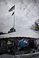 "OHIO, Toledo, October 27, 2012:  Clothes donated by the community to homeless and people living below the poverty line are seen inside the city tent arranged in Toledo by the church organization ""1Matters.org"". ALESSIO ROMENZI"