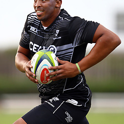 DURBAN, SOUTH AFRICA, Thursday 14, January 2016 - Lubabalo 'Giant' Mtyanda during The Cell C Sharks Pre Season training Thursday 14th January 2016,for the 2016 Super Rugby Season at Growthpoint Kings Park in Durban, South Africa. (Photo by Steve Haag)<br /> images for social media must have consent from Steve Haag