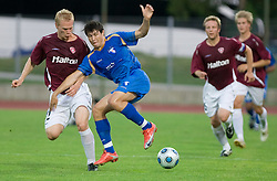 Toni Huuhka vs Etien Velikonja of Gorica at 1st football match of 2nd preliminary Round of UEFA Europe League between ND Gorica and FC Lahti, on July 16 2009, in Nova Gorica, Slovenia. (Photo by Vid Ponikvar / Sportida)