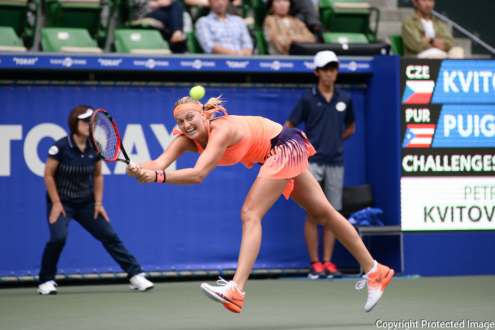 SEPTEMBER 21: Petra Kvitova of Czech Repuplic competes against Monica Puig of Puerto Rico Olympic gold medal winner during women's singles match day three of the Toray Pan Pacific Open at Ariake Colosseum on September 21, 2016 in Tokyo, Japan 21/09/2016-Tokyo, JAPAN