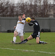 Dumbarton&rsquo;s Frazer Wright clears from Dundee&rsquo;s Rory Loy - Dumbarton v Dundee, William Hill Scottish Cup fifth round at The Cheaper Insurance Direct Stadium <br /> <br />  - &copy; David Young - www.davidyoungphoto.co.uk - email: davidyoungphoto@gmail.com