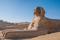 Side view of the Sphinx at Giza, Egypt.