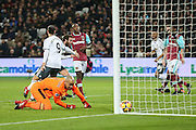 Juan Mata Midfielder of Manchester United scores the first goal 0-1 and celebrates during the Premier League match between West Ham United and Manchester United at the Stadium Queen Elizabeth Olympic Park, London, United Kingdom on 2 January 2017. Photo by Phil Duncan.