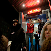 Youngsters outside the Hollywood club in Tyumen. The Siberian city is enjoying a flush of cash from its oil and gas reserves.