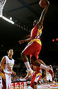 Arizona State recruit James Harden flies through the air for a dunk during action in the McDonald's All American High School Basketball Team games at Freedom Hall in Louisville, Kentucky on March 28, 2007.