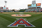 ANAHEIM, CA - MAY 22:  General view of the field and stadium as members of the ground crew work on the infield before the game between the Atlanta Braves and the Los Angeles Angels of Anaheim on Sunday, May 22, 2011 at Angel Stadium in Anaheim, California. The Angels won the game 4-1. (Photo by Paul Spinelli/MLB Photos via Getty Images)