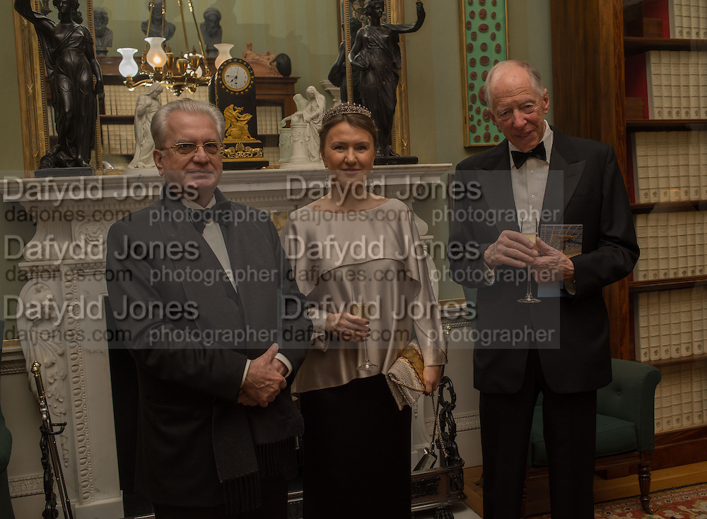 PROFESSOR MIKHAIL PIOTROVSKY; INNA BAZHENOVA,; LORD JACOB ROTHSCHILD,  Professor Mikhail Piotrovsky Director of the State Hermitage Museum, St. Petersburg and <br /> Inna Bazhenova Founder of In Artibus and the new owner of the Art Newspaper worldwide<br /> host THE HERMITAGE FOUNDATION GALA BANQUET<br /> GALA DINNER <br /> Spencer House, St. James's Place, London<br /> 15 April 2015