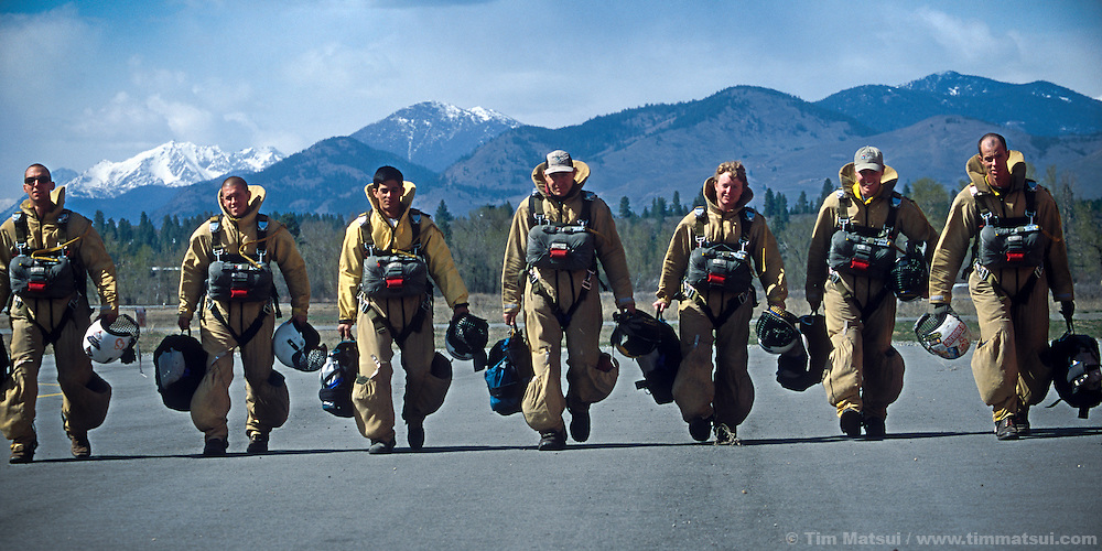 "Smokejumpers based in Winthrop, Washington, train for a busy drought-affected fire season during the ""western energy crunch"" in 2001 when drought, heat, and power gid manipulation by Californian utilities taxed Washington's hydroelectric utilities."
