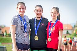 Maja Bedrač, Joni Tomičić Prezelj and Lara Jagodnik at medal ceremony during day 1 of Slovenian Athletics Cup 2019, on June 15, 2019 in Celje, Slovenia. Photo by Peter Kastelic / Sportida