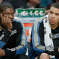 13 November 2010: Washington Wizards' forward #13 Kevin Seraphin is seen next to Washington Wizards' center #34 JaVale McGee during the Chicago Bulls 103-96 victory over the Washington Wizards at the United Center, in Chicago, Illinois, USA.
